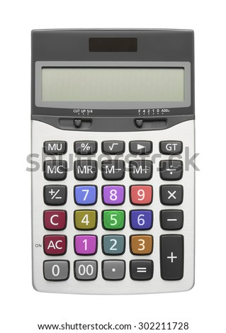silver calculator with multi color button on white, isolated included clipping path - stock photo