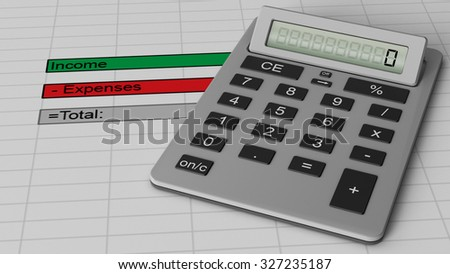 Silver calculator with the number 0 on a digital screen shown on a basic finance document