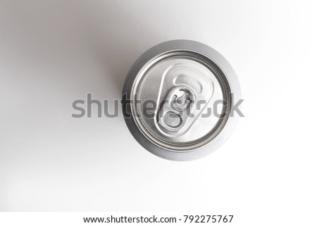 silver can beer on grey, view top