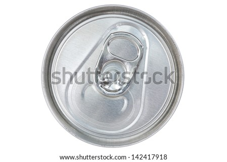 Silver can top isolated on white background - stock photo