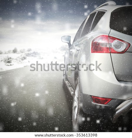 silver car and road  - stock photo