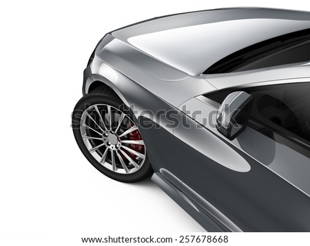 Silver car - cropped shot isolated on white  - stock photo