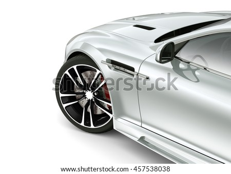 Silver car - cropped shot on white (3D render) - stock photo