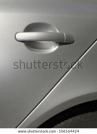 Silver car  door handle - stock photo