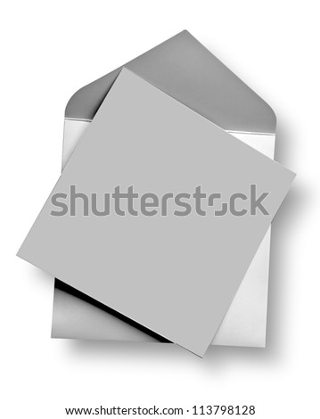 Silver card and envelope with shadow (clipping path) - stock photo