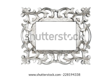Silver carved picture frame isolated with clipping path. - stock photo