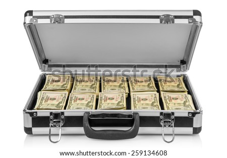Silver case with money on white background - stock photo