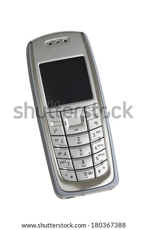 silver cell phone on white  - stock photo