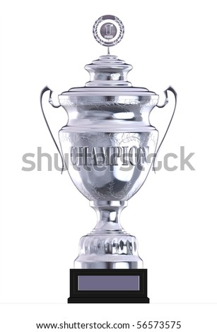 silver champion trophy - stock photo