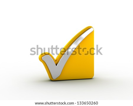 Silver check mark on golden plate - stock photo