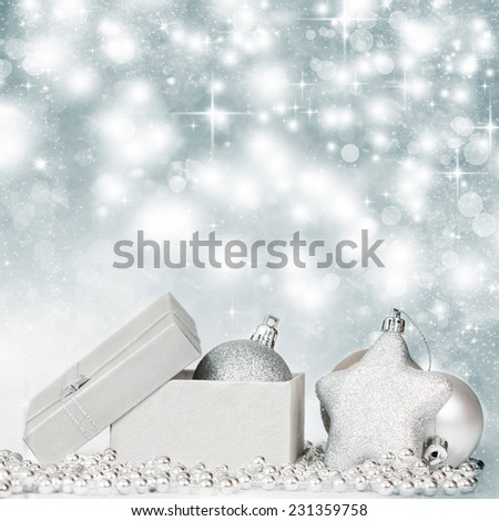 Silver Christmas background with Christmas ball, star and gift box - stock photo