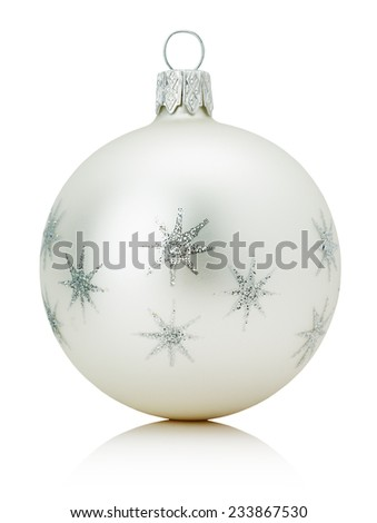 silver Christmas ball isolated on the white background - stock photo