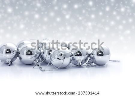 Silver christmas balls - stock photo