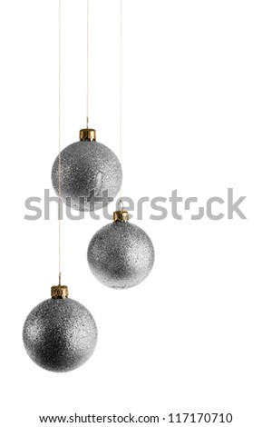 silver christmas balls, isolated on white - stock photo