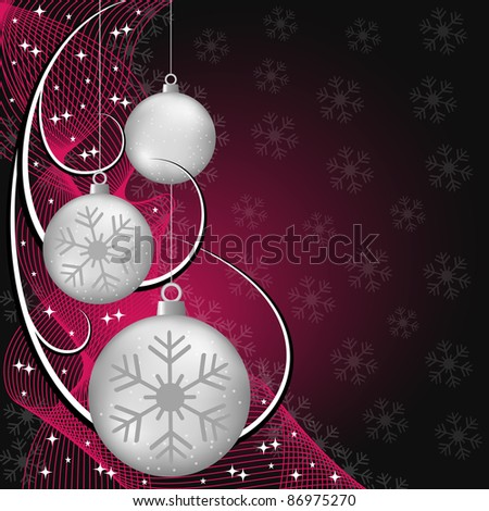 Silver christmas balls, wispy lines, stars and snowflakes on red and black background. Copy space for text. Vector also available. - stock photo