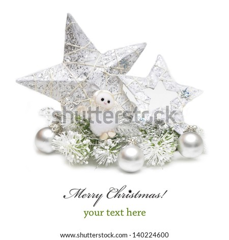 Silver Christmas bauble,star and angel on white background - stock photo