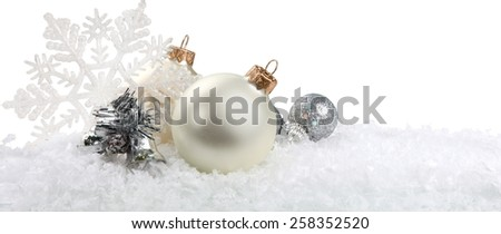 Silver Christmas baubles  - stock photo