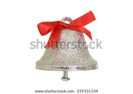 Silver christmas bell - stock photo