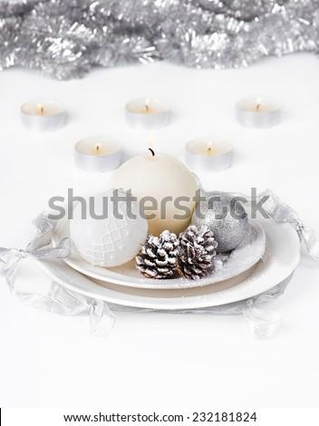 Silver Christmas decoration - stock photo