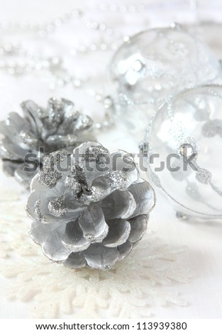 silver Christmas decorations close up