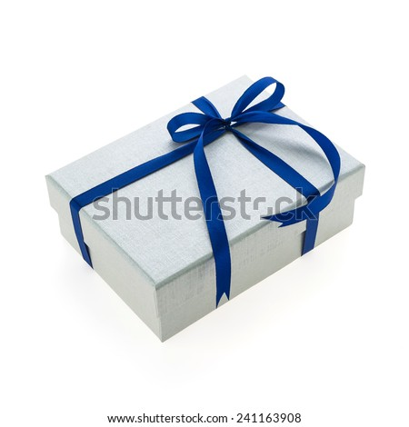 Silver christmas gift box isolated on white background