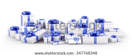 Silver christmas gift boxes, presents with blue bows and ribbons isolated 3d rendering - stock photo
