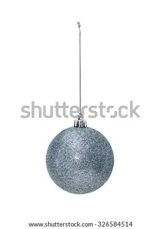 Silver Christmas hanging ball  isolated on white background - stock photo