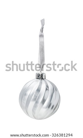 Silver Christmas hanging ball  with decoration isolated on white background - stock photo