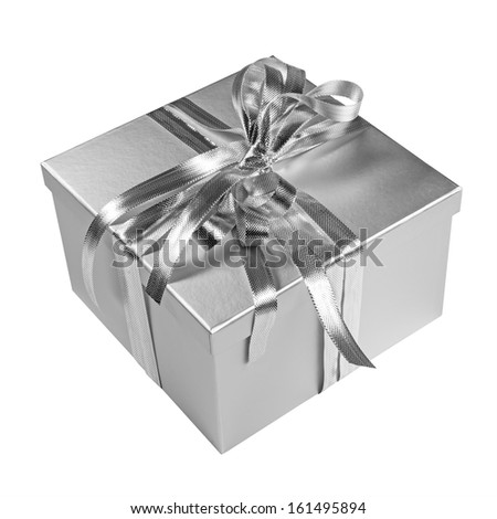 Silver christmas present gift box with sparkling ribbon isolated on white - stock photo