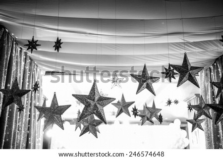 silver Christmas star - stock photo