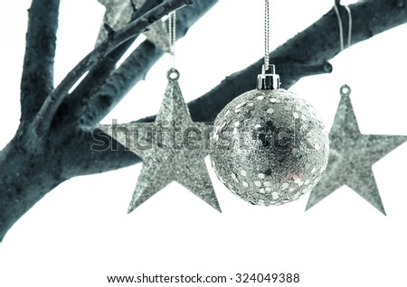 silver christmas stars and baubles hanged on tree branch - stock photo