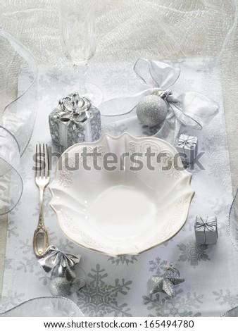 silver christmas table - stock photo