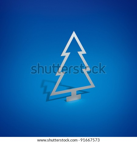 Silver Christmas Tree on Blue Background - stock photo