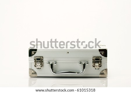 silver chromed make up box on white background