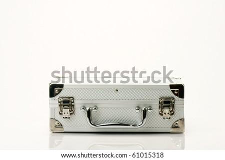 silver chromed make up box on white background - stock photo