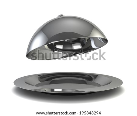 Silver cloche. 3d illustration isolated on white background  - stock photo