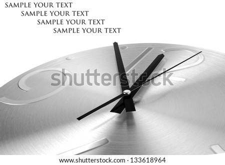 Silver clock on a white background - stock photo