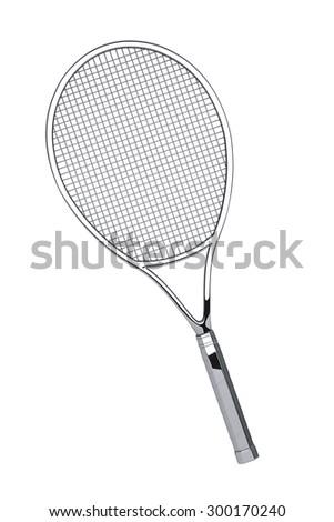 Silver Closeup Tennis Racket on a white background - stock photo