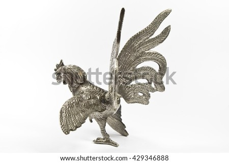 Silver Cockerel Statue on White Background
