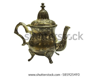 Silver coffee pot on a white background