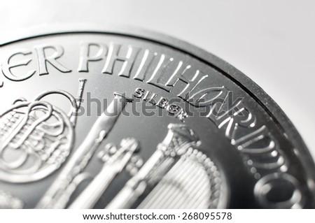 Silver coin. - stock photo
