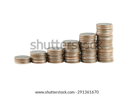 silver coin stack in concept of business growth on white background.