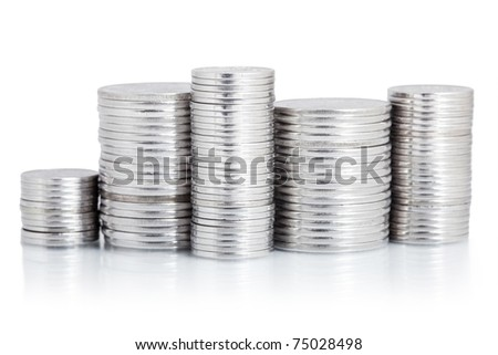 silver coin stack isolated on white - stock photo