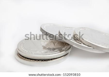 silver coins   - stock photo