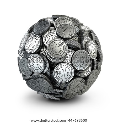 Silver coins assembled in a form sphere on a grey background. Business success concep.