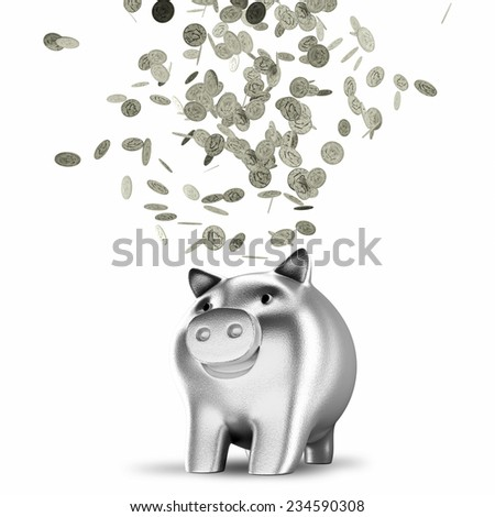 Silver coins falling into a piggy bank isolated on white background - stock photo