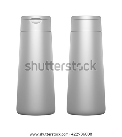 Silver color blank Packaging plastic bottle, on white background isolated. Packshot design for front view and back view of 3d Rendering.