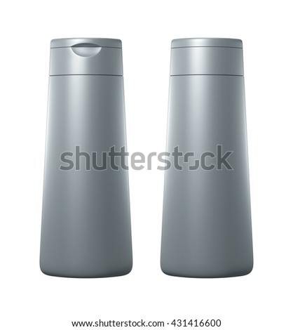 Silver color blank Packaging plastic bottle, on white background isolated. Packshot design for front view and back view of 3d Rendering. - stock photo