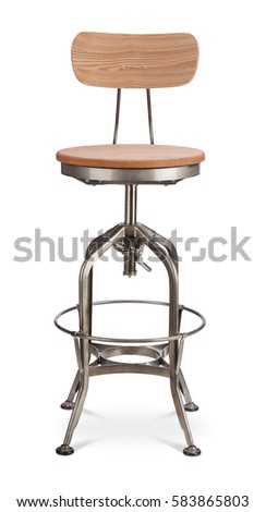 silver color high spinning bar stool chair wood metal chair modern designer