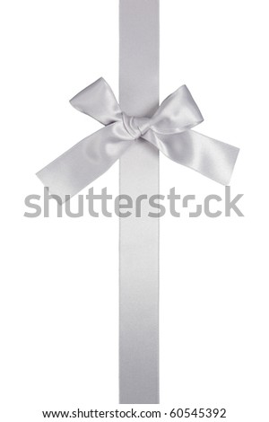 silver color vertical ribbon with bow isolated on white background - stock photo